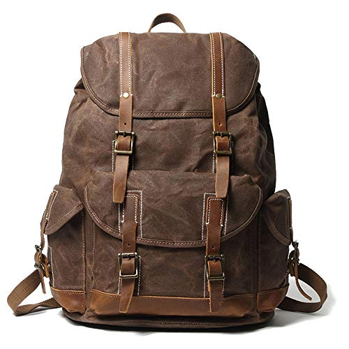 EURYNOME Backpack Waxed Canvas, High Density Thick Canvas Rucksack Genuine Leather Daypack for Travel School (Coffee)