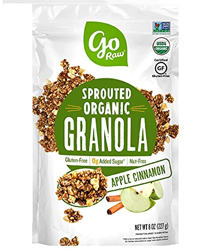 Go Raw Sprouted Organic Granola, Apple Cinnamon, Vegan, Gluten Free, Nut Free, Healthy Breakfast Cereal with Superseeds, Non-GMO, 0g Added Sugar, 3g Plant Based Protein, 8 Oz - Pack of 2