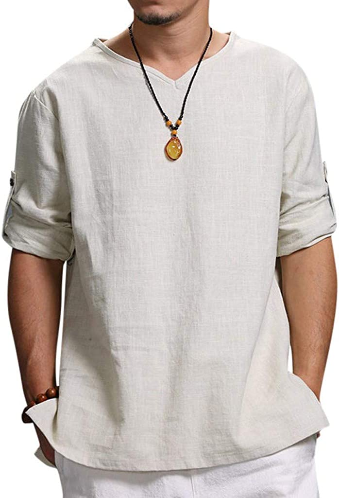 iLOOSKR Men's Summer New Pure 3/4 Sleeve Henley T-Shirt Comfortable Top