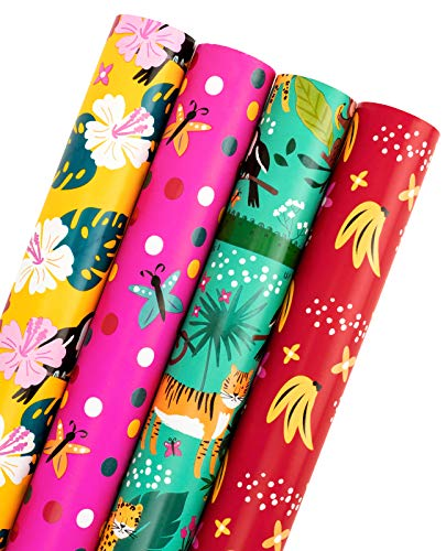 WRAPAHOLIC Animal Wrapping Paper Roll - Tigers in the Jungle Design Perfect for Party, Celebrating, Baby Shower Present Packing - 4 Rolls - 30 inch X 120 inch Per Roll
