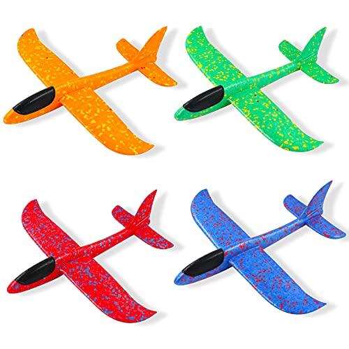 AGAKY Avion Planeador, 4 Pcs Aviones de Juguete para niños, 37cm Planos de Espuma, Deportes Al Aire Libre Volar Juguete,Modelo de Avion Favores de la Fiesta