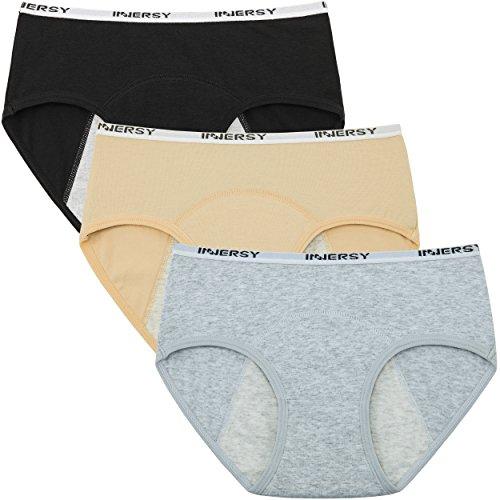 INNERSY Menstruation Slip Teenager Mädchen Auslaufsicher Perioden Unterwäsche 3er Pack (XL(Mädchen 16 Jahre alt), Schwarz/Gelb/Grau)