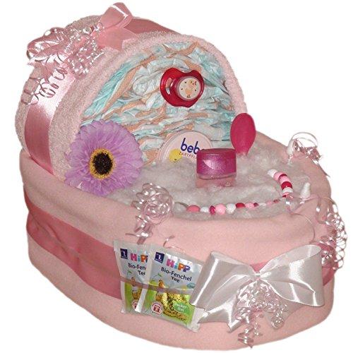 Großes Windelbettchen Süße Träume 51tlg. Geschenk zur Taufe Geburt für Mädchen Windeltorte