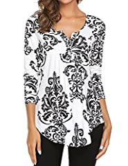 A Nice Silky Feeling Against Your Skin Gently .(M-3XL Womens Plus Size Tops) Loose fit tunic Features Paisley Bohemia pattern design / Floral print pattern / Long sleeve / V neck /Button up / Pleated front/Flowy bottom hem Henley V neck can let your ...