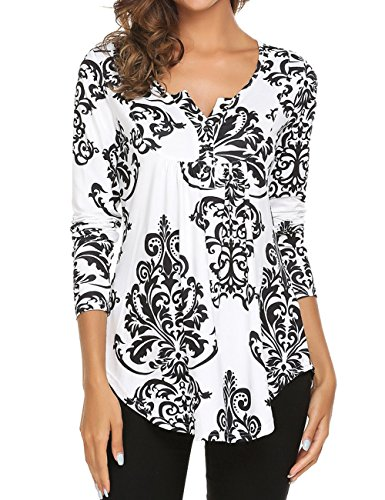 Halife Blouses for Women, Womens V Neck Long Sleeve Casual Printed Vintage Button-up T Shirts Tops Black XL
