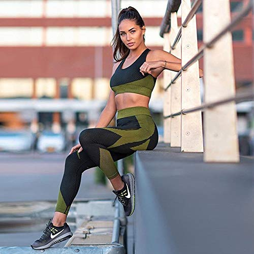 AAJIA,Ropa Deportiva,Fitness Women Yoga Set Criss Cross Ensemble Gym Wear Ropa para Correr Ropa Deportiva Sexy Sport Suit Chándal Tank Top Legging, Black Yoga Sets, L