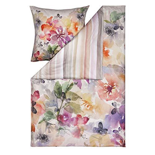 ESTELLA Bettwäsche Blossoms | Multicolor | 155x220 + 80x80 cm | Mako-Satin mit seidigem Glanz | trocknerfest | atmungsaktiv und anschmiegsam | 100% Baumwolle
