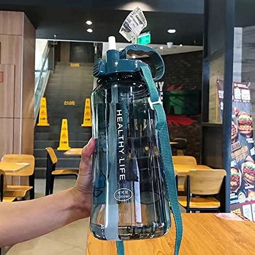 Botella de agua de gran capacidad de 2000 ml Botellas deportivas portátiles con paja Camping Ciclismo Viaje Jugo de plástico Drinkware-2L Con pegatinas, Azul
