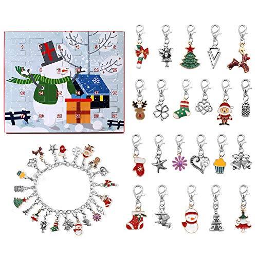 LICHENGTAI Adventskalender 2021, Mädchen Weinachtskalender Kinder Schmuck Armband DIY Halskette mit 24 Überraschungen, Weihnachten Geschenk Armbänder Schmuck Mädchen Damen