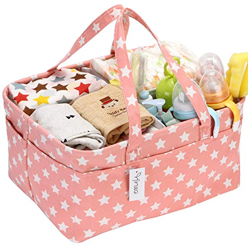 Hinwo Baby Windel Caddy 3-Compartment Infant Nursery Tote Aufbewahrungsbehälter Tragbare Organizer Neugeborenen Dusche Geschenkkorb mit abnehmbarem Teiler 14 unsichtbaren Taschen für Windeln