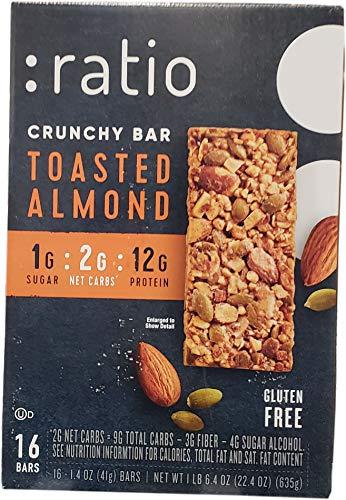 Ratio Toasted Almond Crunchy bar 16Count 1.4 Ounce  Net Wt 22.4 Ounce