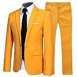 YFFUSHI Slim Fit 2 Piece Suit for Men One Button Casual/Formal/Wedding Tuxedo,Yellow,XX-Large