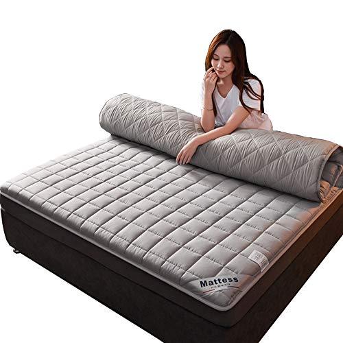 QXTT Futon-Matratze, doppelt faltbar, japanische Bodenmatratze, dicke Tatami-Matte, zum Schlafen, faltbar, Roll-Matratze, atmungsaktiv, langlebig, grau, 150 x 200 cm