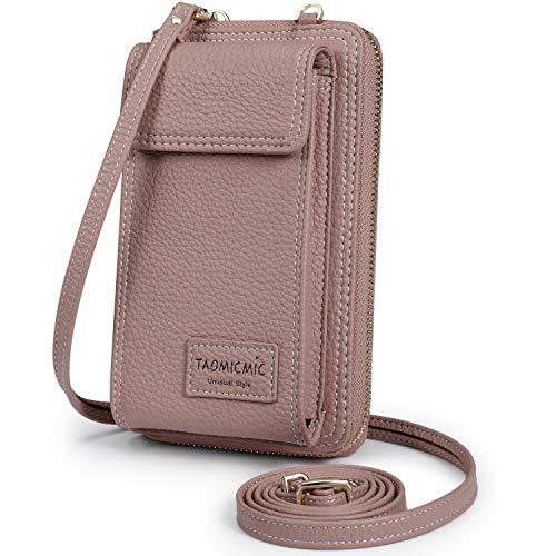 S-ZONE Pequeño Bolso para Mujer de Cuero de la PU del Teléfono Celular Crossbody Phone Wallet Bolsa con Cremallera Bandolera Monedero con Ranuras para Tarjeta (Púrpura RFID)