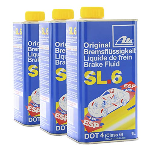 ATE 3X ORIGINAL Bremsflüssigkeit Brake Fluid SL.6 DOT4 1 Liter / 03.9901-6402.2