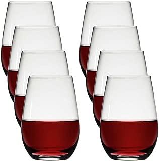 Stolzle (8 Pack) Stemless 23oz Lead Free Crystal Red Wine Glasses Set Bulk Dishwasher Safe Barware