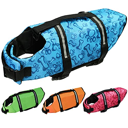 Cielo Meraviglioso Dog Life Jacket, Dog Swimsuit Safety Flotation Vests Pet Life Preserver Savers with Lift Handle Reflective Stripes for Small Medium Large Dogs Swimming Boating (Blue, Small)