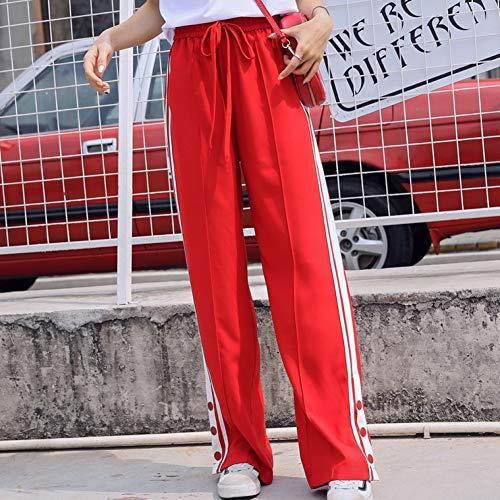 CKBYTH Hosen Hohe Taille Hosen Sommer Lose Breite Beinhosen Lässige Seitenstreifen Jogginghose Femme Hosen Streetwear