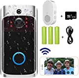Video Doorbell Camera (2020 Upgraded), Wi-Fi with Smart PIR Motion Detection, Wide Angle, Night Vision, Real-Time Notification, Two-Way Talk, 32GB SD Card is Included (Doorbell & Chime)