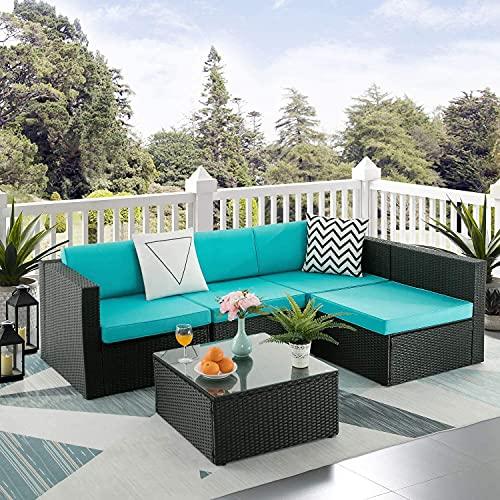 5 Pcs Patio Furniture Sets Sofá Seccional Al Aire Libre Con Mesa Todo Tiempo De Mimbre Rattan Cojines Lavables Conversación Conjuntos Para Pórche Backyard Garden Pool Balcony,Azul