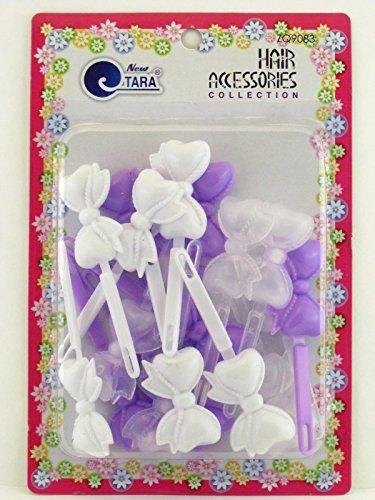 Tara Girls Self Hinge Bow Hair Barrettes - Purple & White - 18 Pcs.