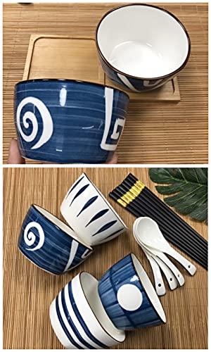Juego de cuencos de cereales de porcelana de arroz con forma de ensalada, tallarines, sopa de ramen, cuencos de cereales con cuchara y palillos, para regalo, lavable en lavavajillas