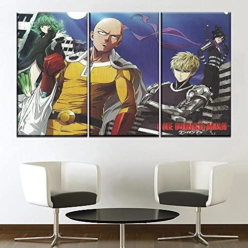 Nzlazbc Impresiones en Lienzo Anime One-Punch Man 3 Piezas Pintura de la Lona Talla Pintura decoración de la Pared Pintura Oficina Aniversario Marco de Fotos fotografía 90x60cm con Caja