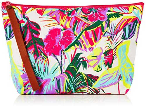 The Holiday Shop London Pochette en toile pour femme Motif tropical - Multicolore - Multicolore (blanc/rose/jaune),