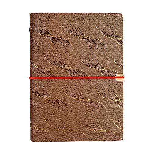 litty089 Boekje Doek Cover Elastische Band Kladblok Notebook briefpapier Office School benodigdheden - Antieke messing Coffee Koffie
