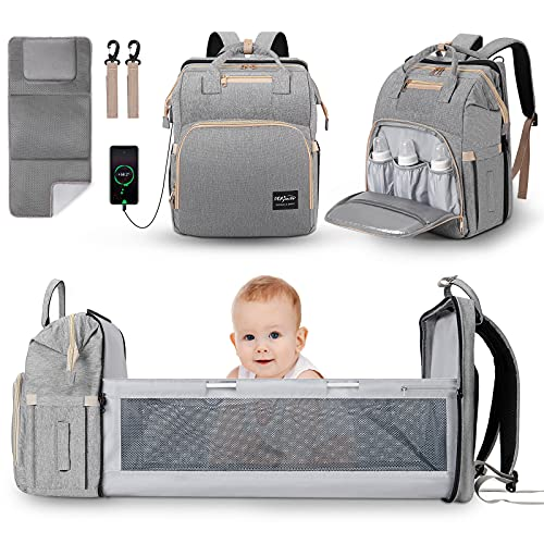 Diaper Bag Backpack with Changing Station, DerJunstar Baby Diaper Bags for Baby Boy & Girl with Portable Crib, Multifunctional Travel Diaper Backpack Large Capacity, Waterproof, USB Charging Port,Gray