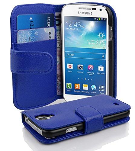 Cadorabo Custodia Libro per Samsung Galaxy S4 Mini in Blu Marina - con Vani di Carte e Funzione Stand di Similpelle Strutturata - Portafoglio Cover Case Wallet Book Etui Protezione
