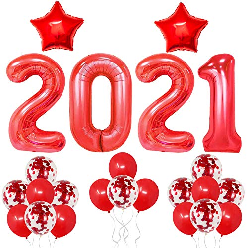 Red 2021 Balloons for Graduation Decor - Large, 40 Inch | Star Foil Balloons, 18 Inch with Red Confetti Balloons Set | Graduation Decorations Red 2021 for High School, College Grad Party Decorations