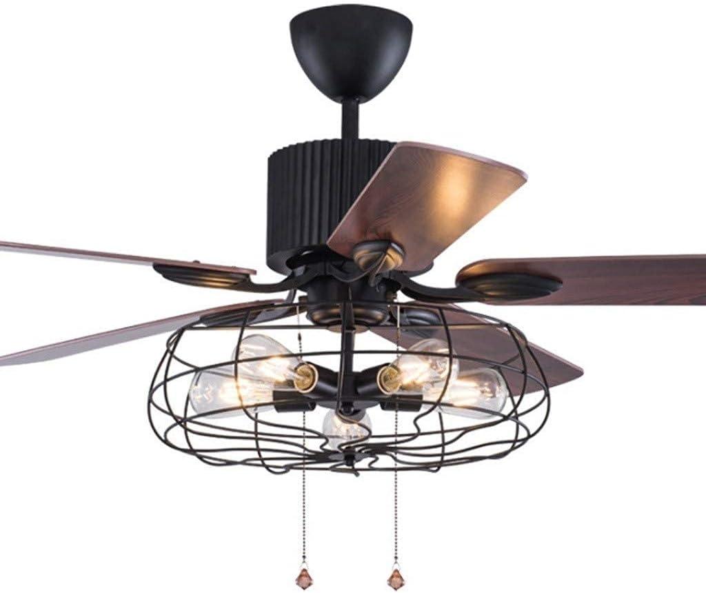 Ventilador de techo silencioso Luz, viento industrial retro americano Ventilador de techo Luz Restaurante Bar Decoración Candelabro Sala de estar Dormitorio Luz de techo Ahorro de energía