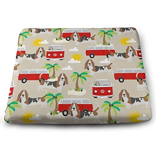 Memory Foam Pad zitkussen. Autostoel kussens om hoogte te verhogen - bureaustoel comfortabel kussen - Basset Hound Dog Beach Bus Hippie Bus palmbomen