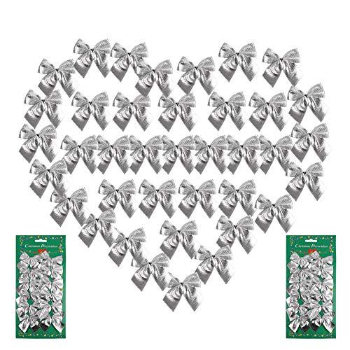 120 Stück Mini Weihnachtsbaum Schleifen Dekorationen,5,5 cm Weihnachten Flocking Stoff Schleifen Ornamente,Festival Bogen Dekoration für Weihnachtskränze Neujahr Weihnachtsbäume Dekoration(Silber)
