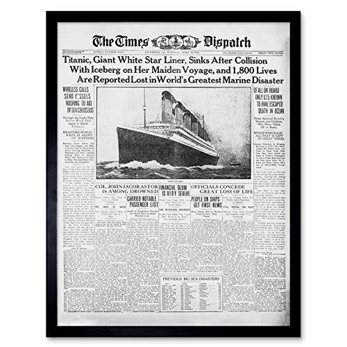 Krant voorblad pagina Titanic ramp 1912 keer muur Art Print ingelijst