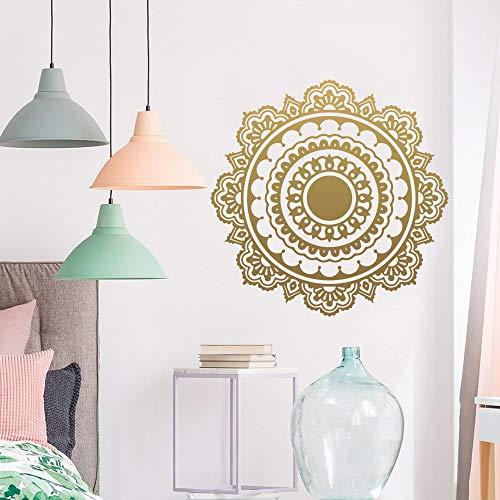 TYLPK Exquisite Mandala Buddhistischen Wandaufkleber Vinyl Aufkleber Wohnzimmer Bewegliche Wandbild Haus Dekorieren Schlafzimmer Kunst Wandaufkleber braun 58X57 CM