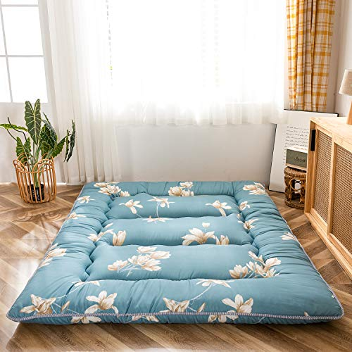 Floral Printed Rustic Style Japanese Floor Mattress Futon Mattress, Memory Foam Foldable Bed Roll Up Camping Mattress Floor Lounger Bed Couches and Sofas, Thickness:10CM Twin Size