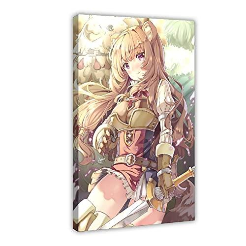 Poster su tela raffigurante l'eroe dello scudo - Raphtalia Poster su tela Anime, decorazione da parete per soggiorno, camera da letto, 60 x 90 cm