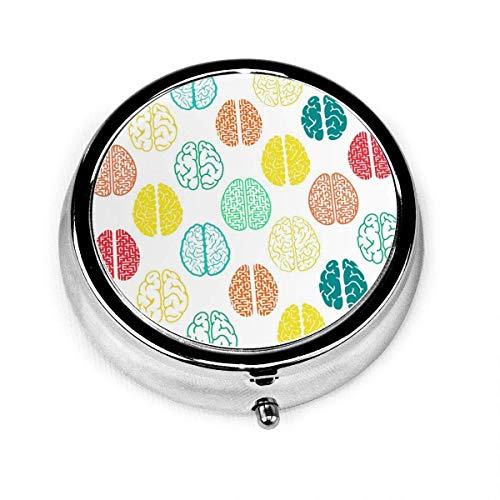 Colorido cerebro caja de píldoras organizador, soporte de vitamina medicina con 3 compartimentos, pastillero portátil para bolsillo monedero regalo de viaje
