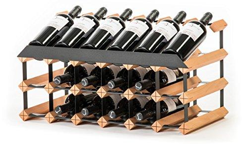 RAXI™ SHOW Premium Weinregal aus Buchenholz mit luxuriösem Design für 18X Wein Flaschen
