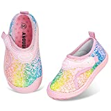 Angugu Boys & Girls Aquatic Water Shoes No Slip Beach Shoes for Toddler Girls(Size 11.5,A Colorful)