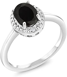 Gem Stone King 1.26 Ct Oval Black Onyx & White Diamond 925 Sterling Silver Women's Ring (Available 5,6,7,8,9)
