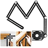 SUNJOYCO Multi Angle Measuring Ruler Aluminum Alloy Ultimate Marking Template Tool Layout Angle Finder Woodworking Flooring Angle Ruler for Craftsmen Handymen Builders Carpenters