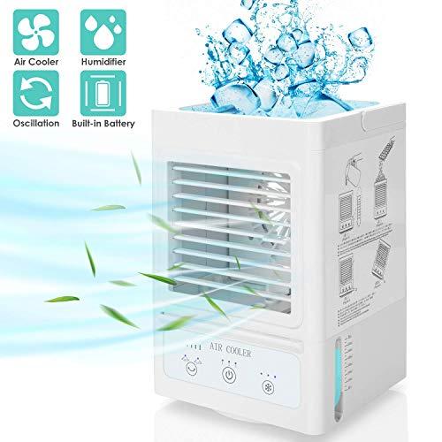 Tragbarer Luftkühler, 5000mAh Persönlicher Raumkühler Wiederaufladbare 700 ml Klimaanlage 120 ° oszillierender