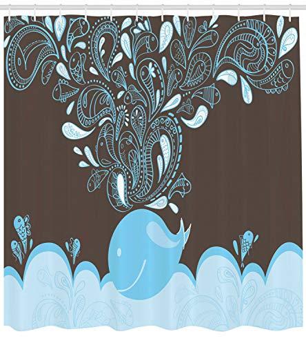 HYTCV Cartoon Duschvorhang Batik Sea Whale Tribal Print Badezimmer Digitaldruck Badvorhang wasserdicht & schimmelresistent (180 * 180CM)