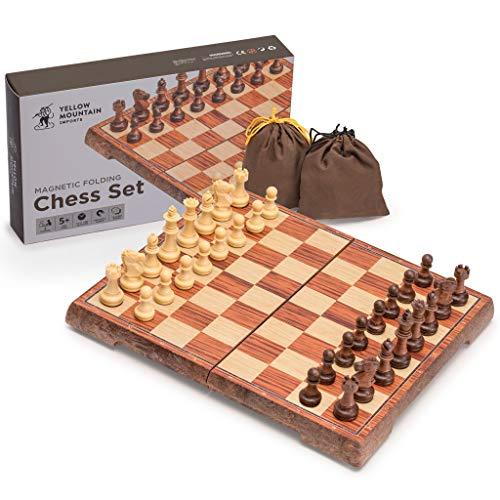 Yellow Mountain Imports Juego de ajedrez magnético portátil (27 centímetros), plegable, juego de mesa de viaje