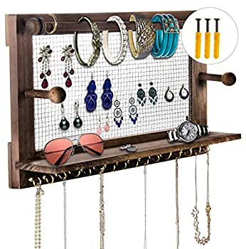 Jewelry Organizer POZEAN Rustic Jewelry Organizer Wall Mounted Wooden Jewelry Holder with 16 Hooks for Holding Earrings Necklaces Bracelets and Other Accessories  Included 2 Screws and Anchors
