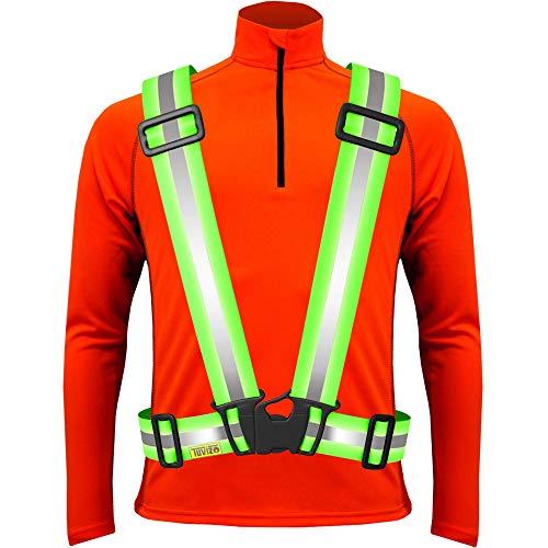 Tuvizo Warnweste Fahrrad - Reflektorband - komfortable Sicherheitweste für Laufen - Reflektoren für hohe Sicherheit und Visibilität - für Herren Damen Kinder (Gelb, L/XL/XXL)