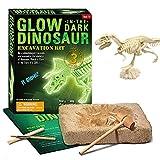 QUCHENG Kit de fouille de fossile de Dinosaure - Squelette Lumineux avec kit de fouille Interne, Cadeau Scientifique pédagogique pour la fête de Pâques de paléontologie archéologique (Tyrannosaure)